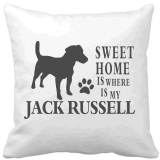 Polštář Sweet home is where is my Jack Russell