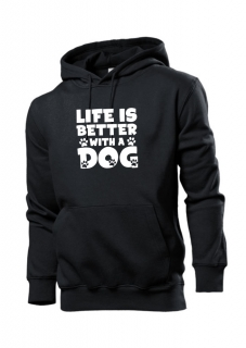 Mikina s potiskem  Life better with a dog